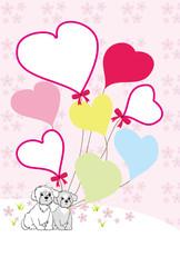 可愛い子犬とハート型風船のイラスト写真フレーム年賀状テンプレート 戌年