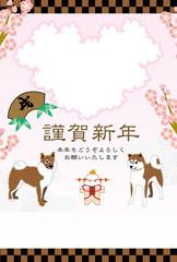 柴犬と梅の花のイラスト写真フレーム年賀状テンプレート 戌年
