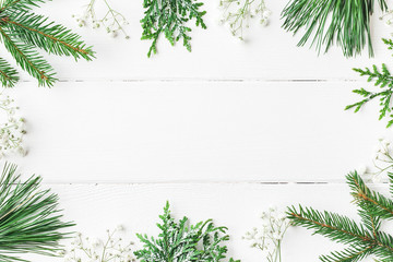 Christmas composition. Christmas frame made of winter plants on white wooden background. Flat lay, top view, copy space