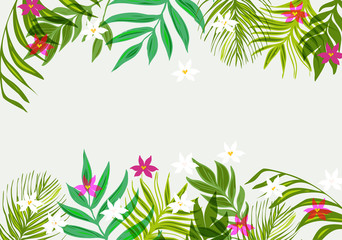 Exotic pattern with tropical leaves and flowers.