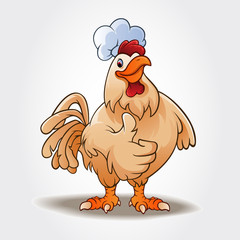 A happy funny Cartoon Chef Rooster chicken giving a thumbs up. Cartoon colorful roosters mascots. Vector logo illustration.