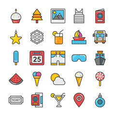 Hotel and Travel Colored Vector Icons Set 5