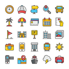 Hotel and Travel Colored Vector Icons Set 7