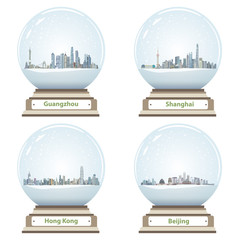 Fototapete - vector collection of snow globes with Guangzhou, Shanghai, Hong Kong and Beijing city skylines