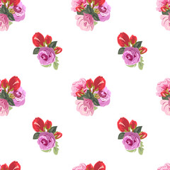 Seamless pattern with beautiful roses. Hand-drawn floral background for printing on fabric, clothing, home textiles, wallpaper, gift wrapping. Romantic design.