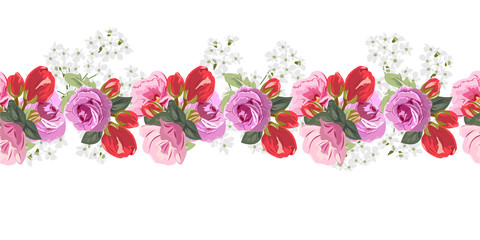 Seamless floral border with cute pink and red flowers and beautiful roses. Hand-drawn pattern on white background. Design element for cards, invitations, wedding, congratulations.