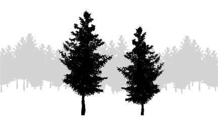 Vector silhouette of forest on white background.