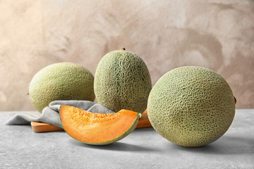 Ripe melons on table