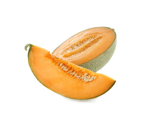 Ripe melon on white background