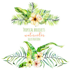 Watercolor tropical palm leaves and flowers exotic bouquets, hand painted isolated on a white background