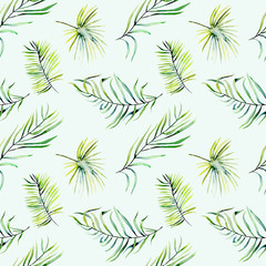 Watercolor green tropical palm leaves and fern branches seamless pattern, hand painted isolated on a blue background