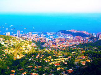 aerial view from village La Turbie to Principality Monaco, Monte-Carlo, port Hercule, Prince Palace, Mountains, yachts, boats, skyscrapers, Menton, cote d'azur coast, french riviera, France