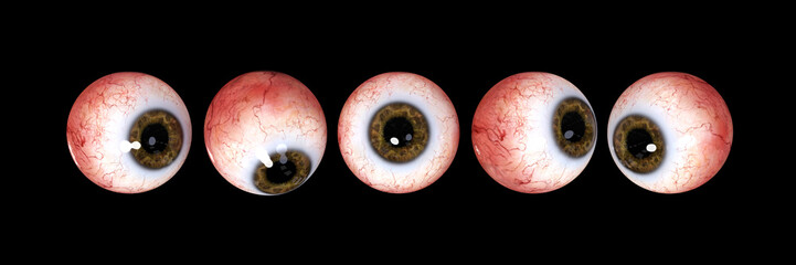 five realistic human eyes with brown iris, isolated on black background