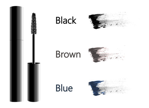 Vector Black Realistic Mascara and brown, blue and black brush stroke vector Isolated on White Background. Beauty and cosmetic makeup background. Vector illustration.