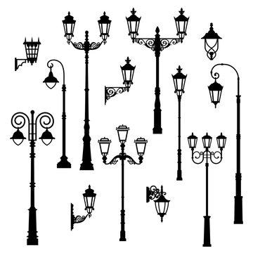 Set of vintage streetlights.  Can be used for scrapbook, postcards, print, etc.
