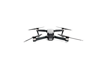 Flying helicopter drone with camera. Studio shot isolated on white background.