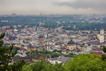 A view of the old city from a height overcast summer day. Lviv, Ukraine.