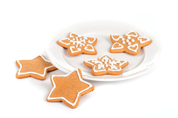 Christmas cookies with decoration / Still life with decorated Christmas cookies in a plate isolated on white