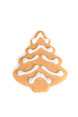 Christmas cookie with decoration /  Decorated cookie with fir tree shape isolated on white