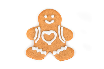 Christmas cookie with decoration /  Decorated gingerbread man isolated on white