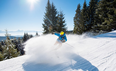 Professional skier skiing downhill in the Carpathians mountains. Blue sky and winter forest on the background