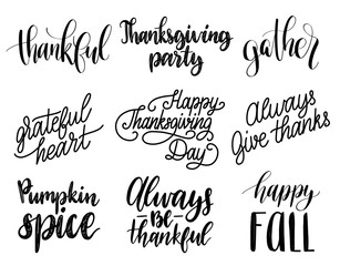 Vector Thanksgiving lettering for invitations or festive greeting cards. Handwritten calligraphy set of Be Thankful etc.