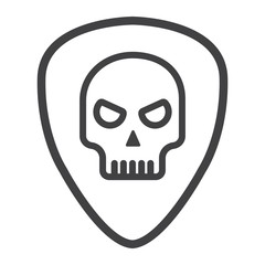 Guitar pick with skull line icon, music and instrument, skull sign vector graphics, a linear pattern on a white background, eps 10.
