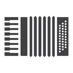 Accordion glyph icon, music and instrument, sound sign vector graphics, a solid pattern on a white background, eps 10.