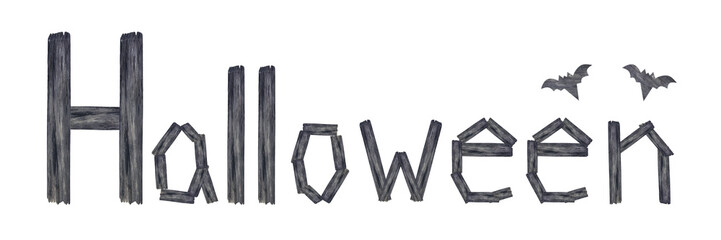 Text ''Halloween'' is made of wood isolated on white background