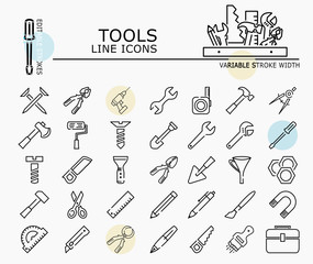 Tools line icons with minimal nodes and editable stroke width and style
