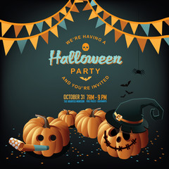 Halloween party background illustration with jack o lantern and bunting. EPS 10 vector.