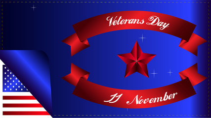 Veterans day of USA with American flag background