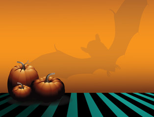 Happy Halloween party background illustration with pumpkins and bat shadow. vector.