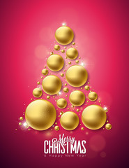 Vector Merry Christmas and Happy New Year Illustration with Gold Ornamental Glass Balls on Clean Background. Holiday Design for Greeting Card, Poster,Bbanner.