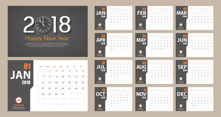 2018 New Year calendar simple modern style. Dark grey and orange. Event planner. All size. Vector illustration