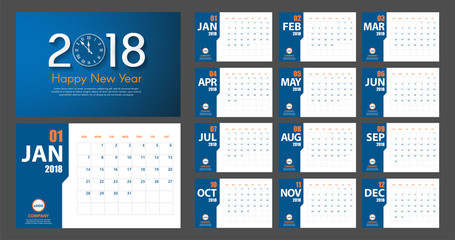 2018 New Year calendar simple modern style. Blue and orange. Event planner. All size. Vector illustration