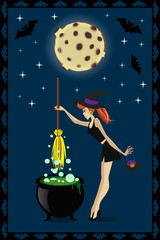 Halloween illustration of cute young witch with cauldron on full moon background with stars and bats. Halloween greeting card or invitation.
