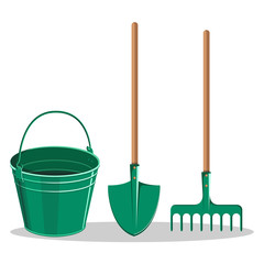Gardening Bucket, Green Shovel and Rake on White