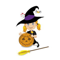 cute  little witch in halloween costume with pumpkin jack, lollipop and broom