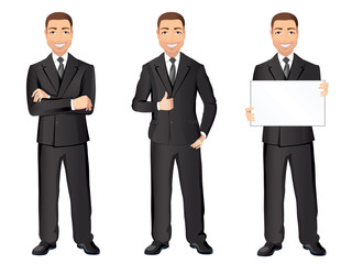 Business man in black suit in different poses. Confident handsome man, full length, dress code. Flat design, vector cartoon illustration
