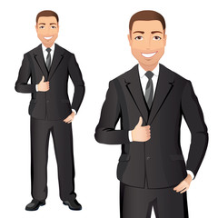 Business man in black suit smiles and shows thumbs up. Full length portraits of Confident man in suit isolated on white background. Flat design. Vector cartoon illustration