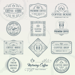Set of vintage coffee badges