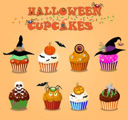 Set of cute happy halloween cupcakes on orange background. Vector illustration, clip art.