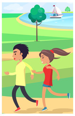 Boy and Girl Jog at Park along Path Near Pond