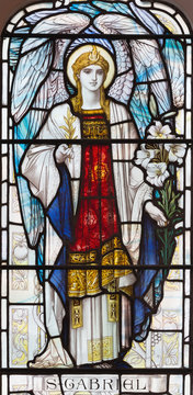 LONDON, GREAT BRITAIN - SEPTEMBER 17, 2017: The archangel Gabriel on the stained glass in church St. Michael, Chester square.