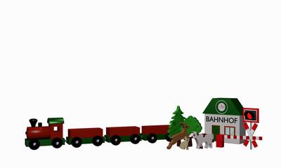 Holzspielzeug für eine Eisenbahn mit Text Bahnhof in deutsch