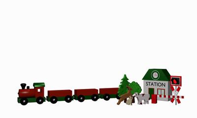 Holzspielzeug für eine Eisenbahn mit Text Bahnhof in englisch
