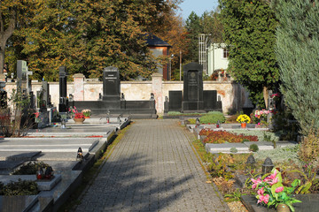 various decorated graves on the cemetery in Sviadnov, Czech Republic, October 7, 2017