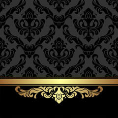Rich charcoal damask Background with golden Ribbon.