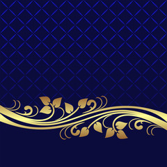 Navy blue Background decorated the elegant floral  Border..